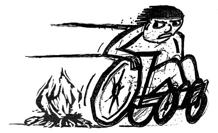 Illustration of wheelchair user swiftly fleeing a fire.