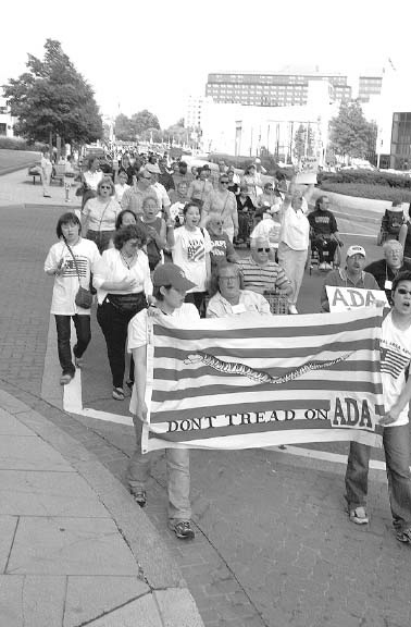 The NCIL march for the ADA in Washington, 2001.